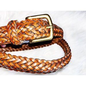"Coach • Braided Leather Belt 38"""